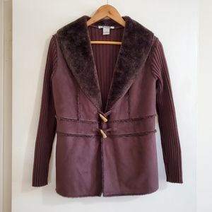 BOGO Nygard faux fur and suede brown jacket